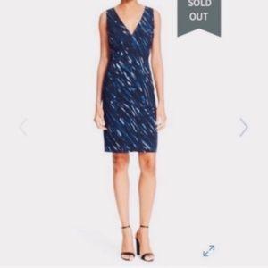 MILLY Paintbrush Blue Deep V  Sheath Dress Sz 12